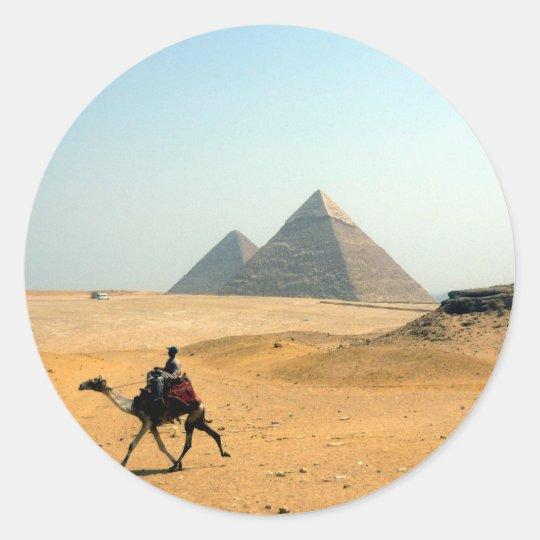 camel pyramid round sticker