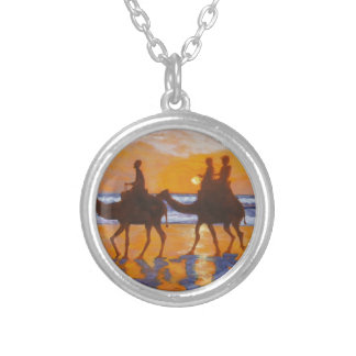 Camel Ride Broome Australia Round Pendant Necklace