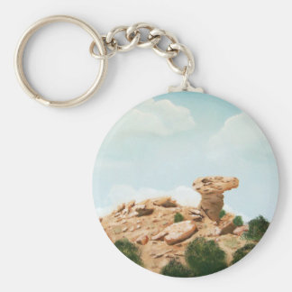 Camel Rock - Santa Fe, New Mexico Oil Painting Basic Round Button Key Ring