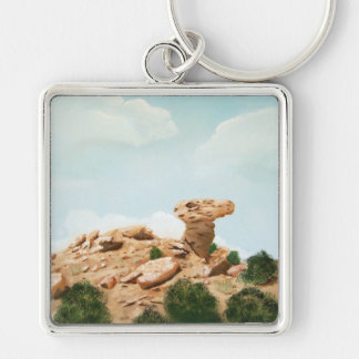 Camel Rock - Santa Fe, New Mexico Oil Painting Silver-Colored Square Key Ring