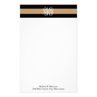 Camel Tan Blk Horiz Stripe #3 Vine Script Monogram Stationery Design