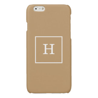 Camel Tan Framed Initial Monogram iPhone 6 Plus Case