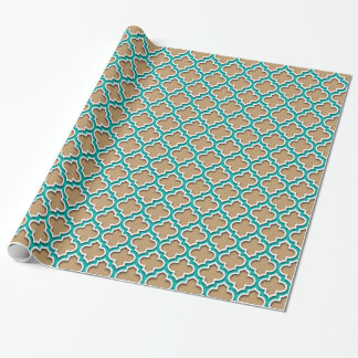 Camel Tan, Teal, White Moroccan Quatrefoil #5DS Wrapping Paper