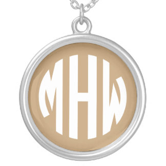 Camel Tan White 3 Initials in a Circle Monogram Necklaces