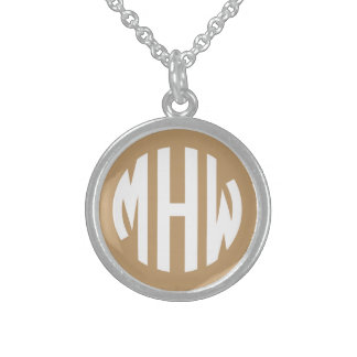 Camel Tan White 3 Initials in a Circle Monogram Round Pendant Necklace