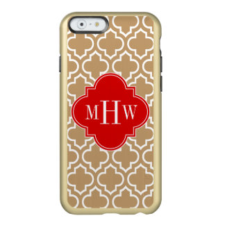 Camel Tan Wht Moroccan #6 Red 3 Initial Monogram Incipio Feather® Shine iPhone 6 Case