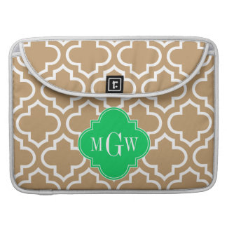 Camel Wht Moroccan #6 Emerald 3 Initial Monogram Sleeve For MacBooks