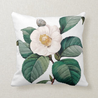 Camelia double vintage flower Redoute Throw Pillows