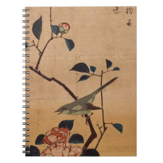 Camellia and Bush Warbler by Hiroshige Spiral Notebook