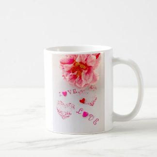 Camellia flower, hearts and love coffee mug