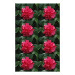 Camellia Rosy Red Ruffled Personalised Stationery