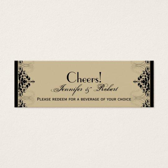Camelot Gold Black Scrolls Wedding Drink Ticket