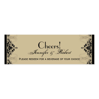 Camelot Gold Black Scrolls Wedding Drink Ticket Business Card Template
