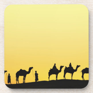 Camels and camel driver silhouetted at sunset, 3 coaster