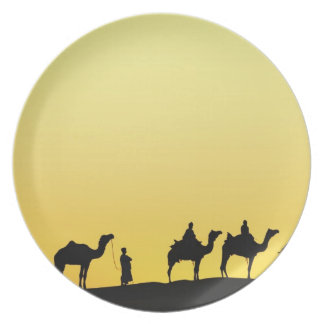 Camels and camel driver silhouetted at sunset, 3 plate