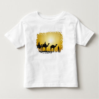 Camels and camel driver silhouetted at sunset, toddler T-Shirt