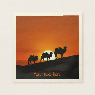 Camels at sunset paper napkin