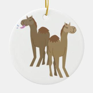 Camels Round Ceramic Decoration