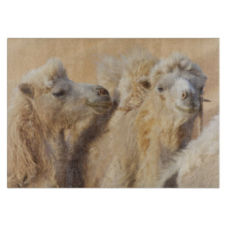 Camels in a desert convoy cutting board
