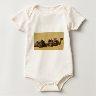 Camels in the desert baby bodysuit