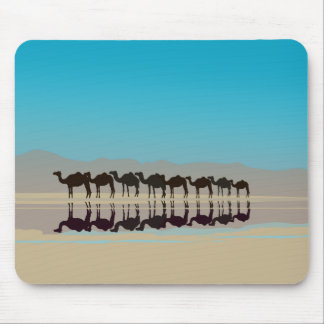 Camels in the desert mousemats