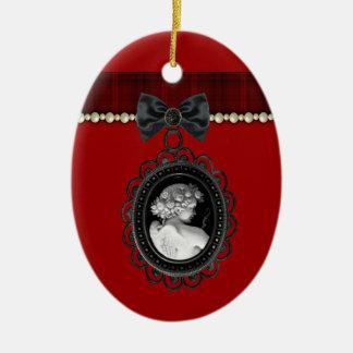 Cameo and Plaid Goth Wedding Keepsake Ceramic Oval Decoration