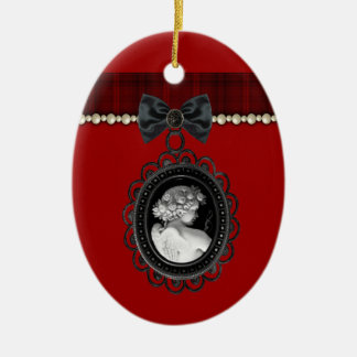 Cameo and Plaid Goth Wedding Keepsake Christmas Ornament