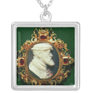 Cameo bearing the portrait of Charles I of Spain Silver Plated Necklace