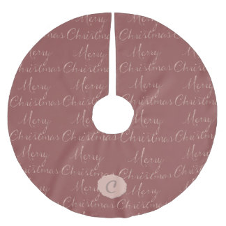 Cameo Pink Merry Christmas Message Brushed Polyester Tree Skirt
