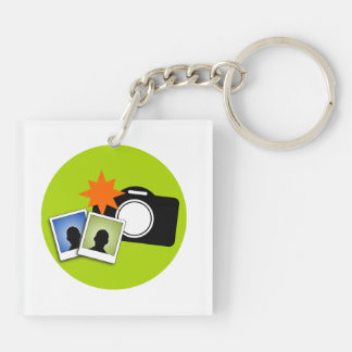 Camera clipart Double-Sided square acrylic keychain