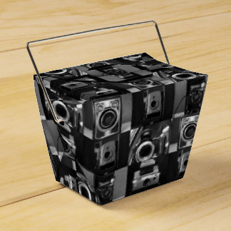 Camera Collage in B&W Takeout Favor Box Party Favour Boxes