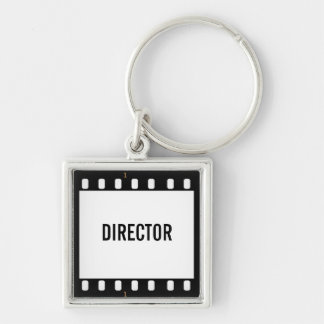 Camera Film Strip Luggage and Laptop Tag Silver-Colored Square Key Ring
