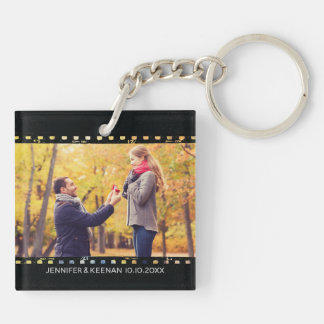 Camera Film Strip Vintage Save The Date Engagement Key Ring