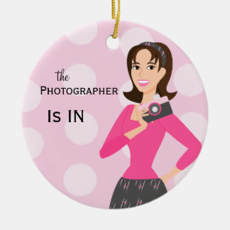 Camera Girl In/Out  Sign Christmas Ornament
