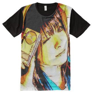Camera Girl Pop Art All-Over Print T-Shirt