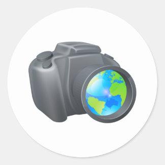Camera globe concept round stickers