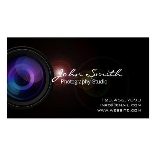 Camera Len & Light Flare Photography business card