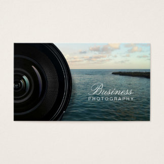 Camera Lens Ocean Landscape Photography Business Card