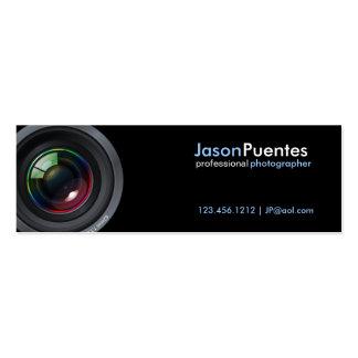 Camera Lens on Black Background Business Cards