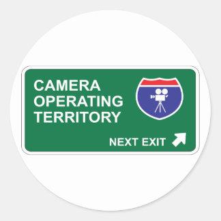 Camera Operating Next Exit Round Sticker