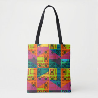 Camera pattern tote bag