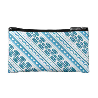 Camera Stripes in Blue Tones Makeup Bag