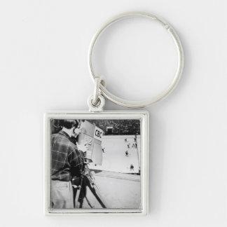 Camera Technician Silver-Colored Square Key Ring