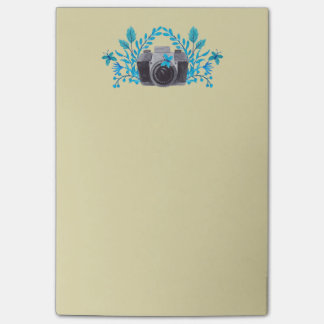 Camera With Azure Blue Leaves And Butterflies Post-it® Notes