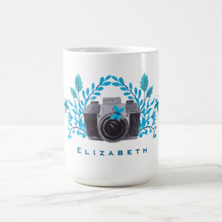 Camera With Blue Leaves And Butterflies Coffee Mug