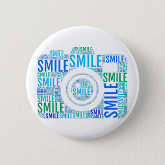 Camera word art, text design smile 6 cm round badge