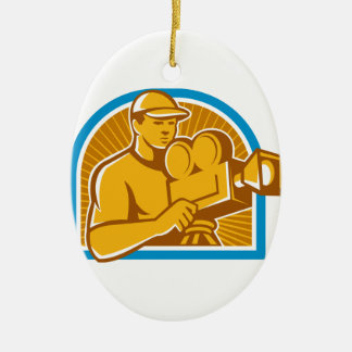 Cameraman Film Crew Vintage Movie Camera Retro Christmas Ornament
