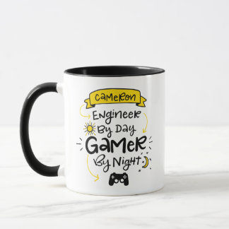 Cameron, Engineer - Gamer, Custom Lettering Mug