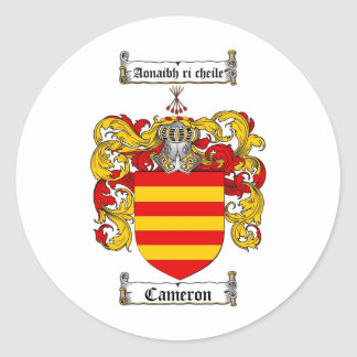 CAMERON FAMILY CREST -  CAMERON COAT OF ARMS ROUND STICKER