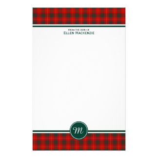 Cameron Family Tartan Red and Green Plaid Monogram Stationery